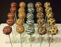 Safari print cake pops by Cassandra's Cake Pops … Safari Party, Safari Baby Shower Cake, Safari Theme Birthday, Idee Baby Shower, Jungle Theme Parties, Baby Shower Cake Pops, Safari Birthday Party, Jungle Party, Baby Party