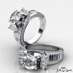3ct Round Cut Diamond Engagement Pave Channel Set Ring GIA F VVS2 14k White Gold