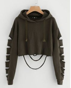 Cheap plain sweatshirt, Buy Quality cropped hoodie directly from China sweatshirt sweatshirt Suppliers: ROMWE Drop Shoulder Hollow Out Sleeve Crop Hoodie 2017 Green Long Sleeve Casual Top Seam Drawstring Plain Sweatshirt Girls Fashion Clothes, Teen Fashion Outfits, Mode Outfits, Outfits For Teens, Girl Outfits, Fashion Ideas, Women's Fashion, Fast Fashion, Fashion Styles