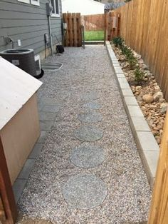 Possible side yard idea, pea gravel as opposed to expensive concrete.