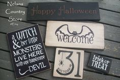 https://www.etsy.com/shop/NelansCountryStore halloween sign halloween decorations october 31st bat trick or treat a witch& her little monsters live here with one handsome devil hand painted rustic primitive fixer upper as for me and my house wall art