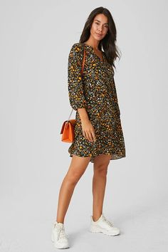 Fit & flare dress – comfy fashion, great prices   C&A Casual Jumpsuit, Jumpsuit Dress, Casual Dresses For Women, Clothes For Women, Ditsy Floral, Fit Flare Dress, Suits You, Types Of Sleeves, Casual Wear