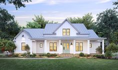 House Plan 41423 - Country, Farmhouse Style House Plan with 2716 Sq Ft, 4 Bed, 3 Bath, 2 Car Garage Modern Farmhouse Design, Farmhouse Style, Built In Lockers, Local Builders, Porch Plans, Beautiful Farm, Exposed Brick, Home Fashion, Architecture Design