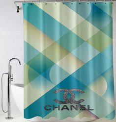 Discount Chanel Blue logo silover Shower Curtain cheap and best quality. *100% money back guarantee
