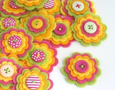 FRUTTA estiva - Set di 3 fiori feltro abbellimenti in calce, rosa caldo, morbido e giallo arancio
