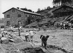 Prisoners at work in the quarry of the Flossenburg concentration camp.
