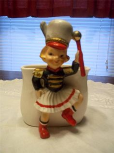 Rare Vintage RELPO Majorette Figural Planter Pencil Candy or Anything Dish