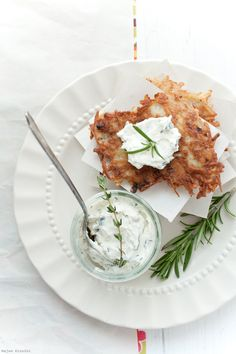 Ginger Potato Pancakes with Herbed Goat Cheese >> Intriguing combination!