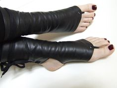 Black Leather Cropped Trapeze Boots by The Swinging Cat. Trapeze boots are hot.