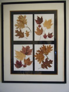 reclaimed frame, using fall leaves I collected and pressed.