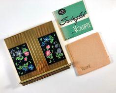 Vintage Compact Volupte Floral Enamel Swinglok Rare | Etsy