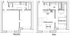 Bố trí lại nhà chung cư 56 m2 - VnExpress Đời sống