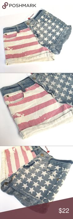 """NWT Distressed US Flag Denim Shorts You will receive NEW WITHOUT TAGS // United States of American flag Denim Shorts // patriotic! // Sz XS // no brand tag // vintage/faded look // cuffed // super cute and great for the Fourth of July! // these were purchased NEW with tags, but they had been exposed to a smoke smell, so I removed tags and washed them. // compare measurements to your favorite shorts // waist laid flat 12.5"""" // 9.5"""" rise // 1.25"""" inseam // 4.15.22.75 // BUNDLE DISCOUNTS Shorts…"""