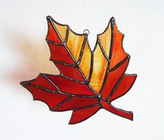 Stained Glass Fall Maple Leaf Autumn by LadybugStainedGlass, $22.00