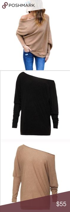 Black off shoulder loose ribbed sweater New. Available in black and khaki in size large. Sweaters