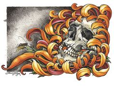"""Skull and Peonies<br>Dimensions 12x16""""<br>High Dynamic Range (HDR) Pigments<br>Printed on 100% Cotton Rag"""