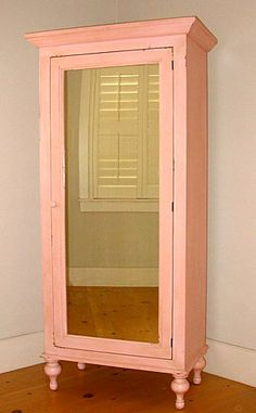 pink painted armoire with mirror... would love to find one for Harper's room.