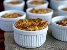 Mini Cauliflower Boursin Souffles, a side dish that goes with everything. Keto Side Dishes, Vegetable Dishes, Side Dish Recipes, Vegetable Recipes, Low Carb Recipes, Cooking Recipes, What's Cooking, Diabetic Recipes, Vegetarian Recipes