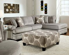 Gray, Soft Microfiber, Couch | Groovy Smoke Two Piece Sectional Sofa | American Freight