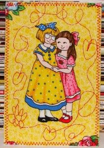 sisters-free-motion-quilted-fabric-postcard