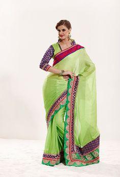 Green-Chiffon-Saree  #IndianFashion #Chiffon #saree