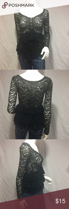 Lace peplum top Adorable black lace peplum top. Has four closures on the chest. The peplum has multiple layers. The brand is Bethany Mota from Aeropostale. Super cute and in great condition. Feel free to make me a reasonable offer 💕 Aeropostale Tops Blouses