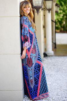 Egyptian Princess Maxi Dress: Coral/Multi