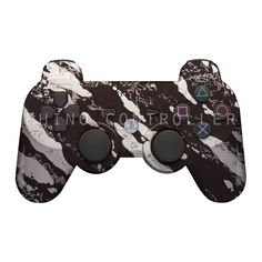 Custom PS3 controller Wireless Glossy WTP-200-Black-Silver-Marble Custom Painted