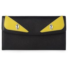 Fendi Monster Leather Wallet (22,655 DOP) ❤ liked on Polyvore featuring bags, wallets, apparel & accessories, leather wallet, fendi, fendi bags, leather snap wallet and real leather wallet