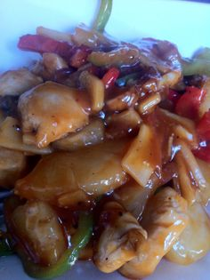 Sweet & Sour Chicken, by the hairy dieters. Just tried this we're bit wussy with hot food though so will try again with less chilli flakes,then it will be perfect :-)