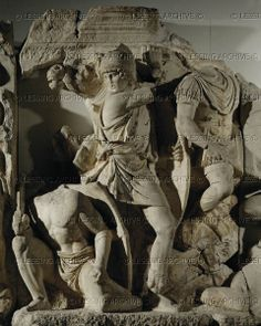 Roman soldier with sword and kneeling Parthian. Marble relief. Battle scene from…