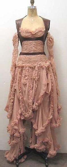 Dress - Alexander McQueen. Fall/Winter 2002-03.  Silk/synthetic/leather. The Metropolitan Museum of Art