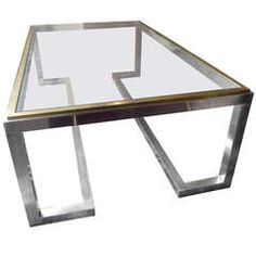 Large Chromed Metal Coffee Table with Bronze Details