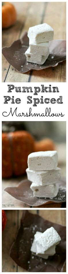 Making your own marshmallows is easy and fun.  Design your own flavors and shapes for maximum fun.  Great for hot cocoa and on top of your sweet potato casserole! Pumpkin Pie Spice Marshmallows Recipe | Take Two Tapas