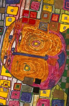 A very original Architect/Artist. A Great Pioneer! Hundertwasser Art, Friedensreich Hundertwasser, Klimt, Sculpture Textile, Art Graphique, Aboriginal Art, Outsider Art, Pablo Picasso, Art And Architecture