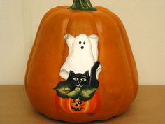 Halloween painted on a pumpkin.  One Stroke Painting by Susan Earl.