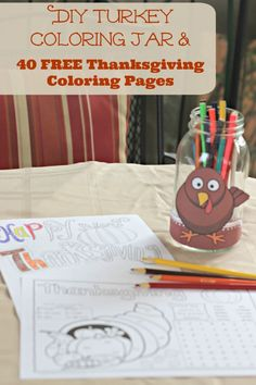 Thanksgiving themed coloring pages and games for kids & adults -- perfect activity for the Thanksgiving table!
