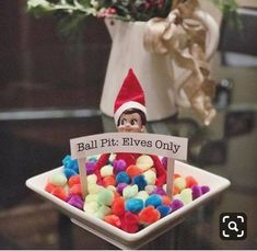 Resultado de imagen para elf ball pit it elves only Christmas Elf, Christmas Crafts, Christmas Stuff, Christmas Ideas, Awesome Elf On The Shelf Ideas, Der Elf, Elf Auf Dem Regal, Elf On The Self, Elf Magic