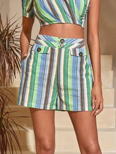 ((Affiliate Link)) Description Style:	Boho Color:	Multicolor Pattern Type:	Striped Details:	Button Front Type:	Wide Leg Season:	Summer Composition:	100% Cotton Material:	Cotton Fabric:	Non-stretch Sheer:	No Fit Type:	Regular Waist Type:	High Waist Closure Type:	Button Fly