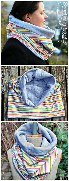 Reversible Neck Warmer, Chunky Striped Scarf, Circular Cotton Neck Warmer, from SvarfinityStudio