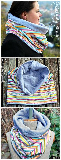 Reversible Neck Warmer, Chunky Striped Scarf, Circular Cotton Neck Warmer, from SvarfinityStudio