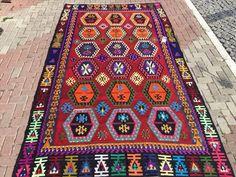 Gorgeous high quality vintage kilim rug red by KilimRugStore