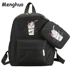 4dad9b71f725 Menghuo Women Canvas Backpack Fashion Cute Travel Bags Printing Backpacks  New Style Laptop Backpack for Teenage Girls