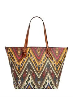 ETRO PAISLEY PRINT COATED CANVAS TOTE BAG, BROWN. #etro #bags #hand bags #canvas #lace #tote #