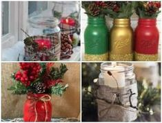 40 ideias para Potes Decorados de Natal Christmas Time, Xmas, Research Projects, Snowflakes, Mason Jars, Christmas Decorations, Bottle, Diy, Venus