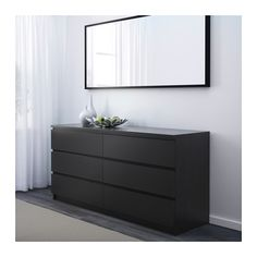 MALM 6-drawer dresser - black-brown - IKEA