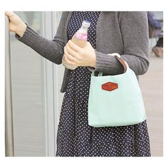 Iconic insulated Lunch Bag tote pouch with handle - mint