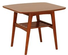 """So danish modern! We are crushing on the San Pedro Side Table. Referencing mid-century modern design that we all know and love, it features a veneer walnut top with solid wood base. And yes, you can be in love with a piece of furniture. 23.5""""w x 23.5""""d x 19.5""""h  $189"""