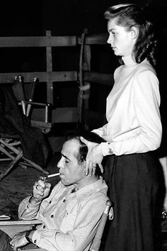 Lauren Bacall and Humphrey Bogart on the set of Key Largo, 1948.