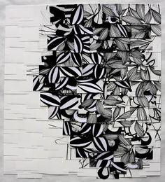 "Raymond Saá / Untitled 2010, charcoal on sewn paper, 42 x 35"""